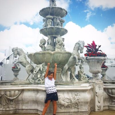 Gia and fountain
